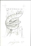 INDONESIA 2002. Reptile 1000 snakes Stamp Artist´s works signed. 149/216mm