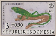 INDONESIA 1966. Animal lizard 3+0.50 semi-postal Stamp Artist´s works signed issued 169/109mm