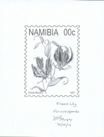 NAMIBIA 1997. Flower A. Stamp Artist´s work signed