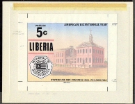 LIBERIA 1976. Int. Philatelic Exhibition 5c. American history [USA realted]Stamp Artist´s Original 228/181mm