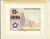 LIBERIA 1976. Int. Philatelic Exhibition 15c. Horses American history [USA realted]Stamp Artist´s Original 228/181mm