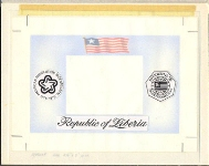 LIBERIA 1976. Int. Philatelic Exhibition flag American history [USA related] Stamp Artist´s Original 228/181mm
