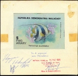 MADAGASCAR 1990. Fish 5FMG. Signed Stamp Artist´s Work 126/87mm