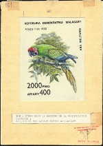 MADAGASCAR 1992. Bird 2000 FMG. Signed Stamp Artist´s Work 109/42mm