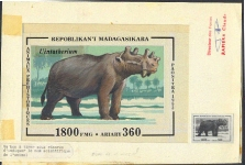 MADAGASCAR 1993. Prehistoric animals 1800 FMG. Signed Stamp Artist´s Original Motif:109/159mm