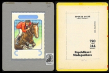 MADAGASCAR 1994. Horses sport 720 FMG. Signed Stamp Artist´s Originals:2pcs. Motif ca:114/161mm