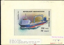 MADAGASCAR 1994. Ship Denmark 350FMG. Signed Stamp Artist´s Original Motif:119/96mm