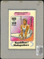 MADAGASCAR 1994. Gymnastics 525FMG. Signed Stamp Artist´s Original Motif:114/161mm
