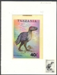 TANZANIA 1994. Pre-historic animals 40Sh. Signatured Stamp Artist´s Works. Motif:91/131mm