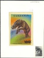 TANZANIA 1994. Pre-historic animals 100Sh. Signatured Stamp Artist´s Works. Motif:91/131mm