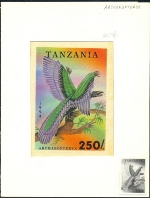 TANZANIA 1994. Pre-historic animals 250Sh. Signatured Stamp Artist´s Works. Motif:91/131mm