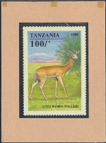 TANZANIA 1995. Animals game ugly 100Sh. Signatured Stamp Artist´s Works. Motif:111/129/mm