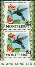 MONTSERRAT 1974. Humming Bird /20c on $1/ Pair w.normal colibri. ERROR :missing bar