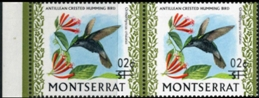 MONTSERRAT 1974. Bird /2c on $1/ Hummingbird colibri Antillean crested ERROR :shift ovpt.HORIZ.PAIR MARG.