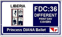 FDC LIBERIA. Diana Ballet 36 different. BULK:x10 (360 FDC)