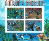 ANTIGUA & BARBUDA 2009 WWF Carribean Coot birds BOTTOM MARG.CORNER IMPERF.4-BLOCK