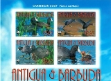 ANTIGUA & BARBUDA 2009 WWF Carribean Coot birds UPPER MARG.CORNER IMPERF.4-BLOCK
