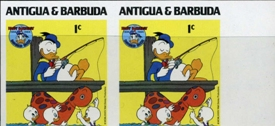 ANTIGUA & BARBUDA 1984 Disney Christmas Donald Duck fishing 1c. IMPERF.MARG.PAIR