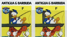 ANTIGUA & BARBUDA 1984 Disney Christmas Donald Duck fishing 1c. IMPERF.PAIR