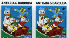 ANTIGUA & BARBUDA 1984 Disney Christmas Donald Duck boat fishing googles 4c. IMPERF.PAIR