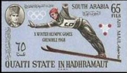 ADEN-Qu´aiti State in Hadhramaut 1967. Olympics Grenoble Skijumping Air Mail 65Fils. Imperf.sheet:70 stamps COMPLETE SHEET-FULL