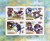 ANGOLA 1988 WWF Angola Guenos monkeys BOTTOM MARG.IMPERF. 4-BLOCK