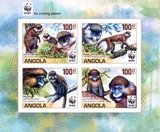 ANGOLA 1988 WWF Angola Guenos monkeys UPPER MARG.IMPERF. 4-BLOCK