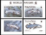 COMORES 1998 Coelacanth Fish WWF. IMPERF.CORNER SET:4 stamps