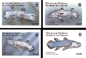 COMORES 1998 Coelacanth Fish WWF. IMPERF.SET:4 stamps