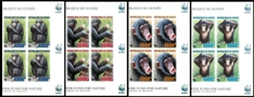 GUINEA 2006 WWF. Chimpanzee IMPERF.4-BLOCK. MARGINS:3
