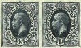 GREAT BRITAIN 1912. George V black 1d. Int.Stamp Exhibition.ESSAY-PROOF. Imperf horiz.pair.