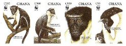 GHANA 1994 WWF Diana Monkey 4 values Imperf.4-STRIP