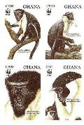 GHANA 1994 WWF Diana Monkey 4 values Imperf.4-BLOCK