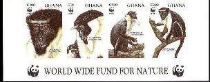 GHANA 1994 WWF Diana Monkey 4 values Imperf.4-STRIP BOTTOM