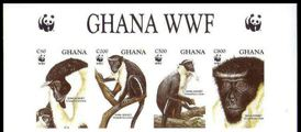 GHANA 1994 WWF Diana Monkey 4 values Imperf.4-STRIP UPPER
