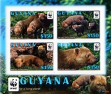 Guyana 2011 WWF Bush Dog Sheetlet (4 stamps)
