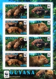Guyana 2011 WWF Bush Dog Sheetlet (8 stamps)
