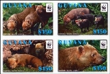 Guyana 2011 WWF Bush Dog IMPERFORATED 4-block