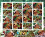 NEVIS 2007 WWF Rainbow Parrotfish IMPERF.SHEETLET:16 stamps
