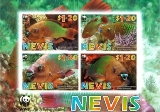 NEVIS 2007 WWF Rainbow Parrotfish IMPERF.4-BLOCK (upper from 8-sheet)