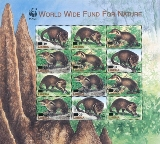 LIBERIA 2003 WWF Liberian mongoose OVPT:new values. sheetlet:12 stamps