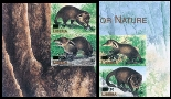 LIBERIA 2003 WWF Liberian mongoose OVPT:new values.IMPERF:4 as two corner pairs