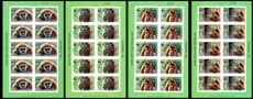 LAOS 2007 WWF. White-handed Gibbon ape.IMPERF.SHEETS:4 (40stamps)