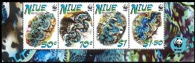 NIUE 2002 WWF. Small Giant Clam. Ovpt.SPECIMEN. 4-STRIP bottom marg.