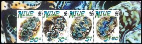 NIUE 2002 WWF. Small Giant Clam. Ovpt.SPECIMEN. 4-STRIP upper