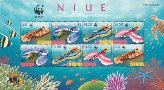 NIUE 1999 WWF. Nudibranchs 4 values. Ovpt.SPECIMEN.sheet:8 stamps