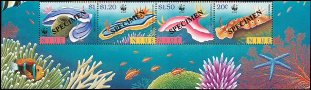 NIUE 1999 WWF. Nudibranchs. Ovpt.SPECIMEN.4-STRIP bottom