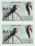 NAURU 1973. Beach sticks frigate bird 50c. IMPERF.PAIR