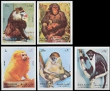 SHARJAH 1972. Monkeys IMPERF.COMPLETE SHEETS:5 (5x25=125 stmmps) fullpanes