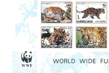 KOREA DPR 1998 WWF. Amur Leopard IMPERFORATED set:4 stamps (corner 4-BLOCK)